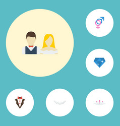 Flat icons brilliant sexuality symbol jewelry vector