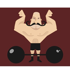 Circus athlete with mustaches with barbell vector
