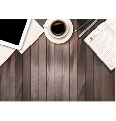 Office workspace background - coffee tablet vector image