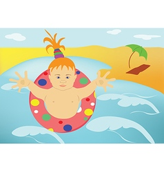 The child sea beach vector