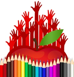 Welcome back to school with hand apple and color vector