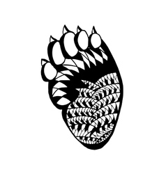 Zentangle stylized bear paw sketch for tattoo or vector