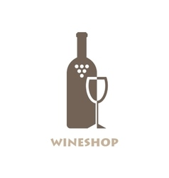 Wine Shop Or Bar Logo Negative Space Style vector image