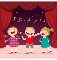 Children sing with a microphone on the stage vector