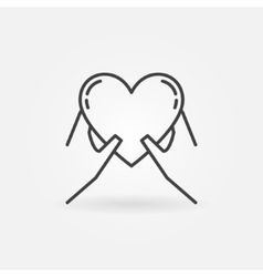 Hands holding heart icon vector image