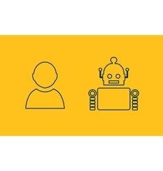 Cute vintage robot and human vector