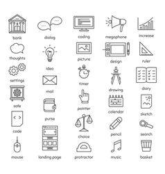 Set with thin line icons office theme vector