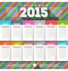 Abstract multicolored calendar of 2015 vector image vector image