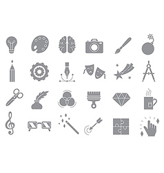 Art gray icons set vector