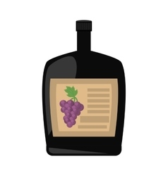 Big wine bottle liquid drink grape badge vector
