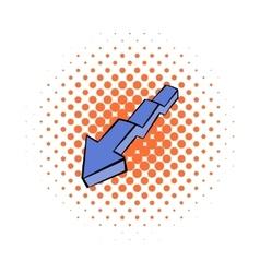 Broken down arrow icon comics style vector