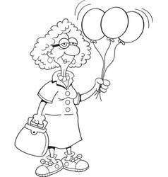 Cartoon senior citizen lady holding balloons vector