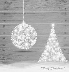 Christmas ball and Christmas tree with snowflakes vector image vector image