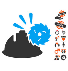 circular blade head protection icon with dating vector image vector image