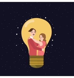 Couple man woman thinking idea lamp bulb marriage vector