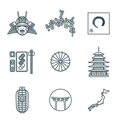 Dark color outline various japanese icons set vector