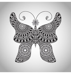 Doodle butterfly tattoo sketch vector