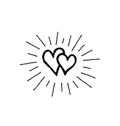 Doodle love hearts pattern back and white vector
