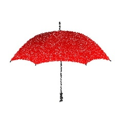 Dotted red umbrella engraving vector