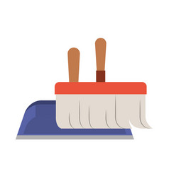 dustpan and hand broom in closeup in colorful vector image vector image