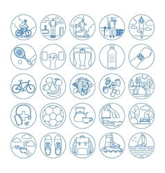Fitness and healthy life style line icons vector