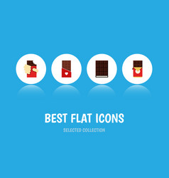 Flat icon cacao set of dessert shaped box vector