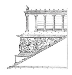 Frieze of altar at pergamon stairway of the great vector