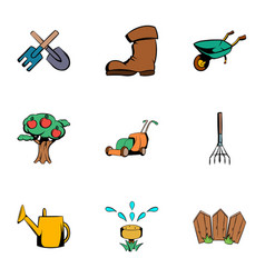 gardening icons set cartoon style vector image vector image