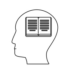Head profile book brain outline vector