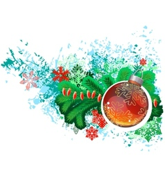 Modern trendy christmas picture with green branch vector image vector image