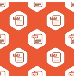 Orange hexagon PDF file pattern vector image vector image