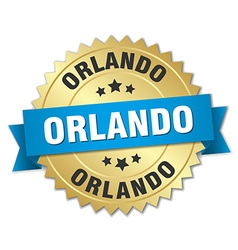 Orlando round golden badge with blue ribbon vector
