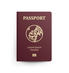 Passport with map realistic vector