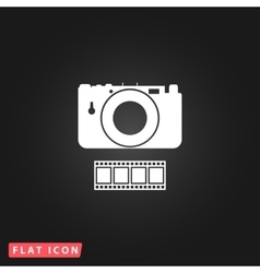 Photography camera and film icon vector image