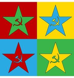 Pop art communism star icons vector