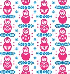 Russian doll matryoshka folk art floral pattern vector