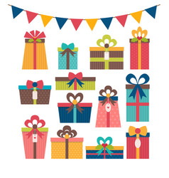 set of different gift boxes colorful wrapped gift vector image