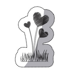 silhouette plant heart icon vector image
