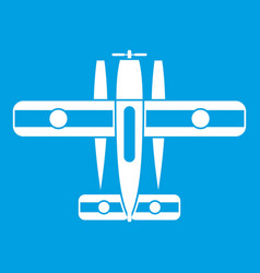 Ski equipped airplane icon white vector