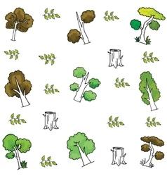 Tree wood leaf of doodles vector
