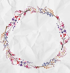 Watercolor flower wreath background vector image vector image
