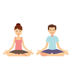 Yoga group concept young couple meditating vector