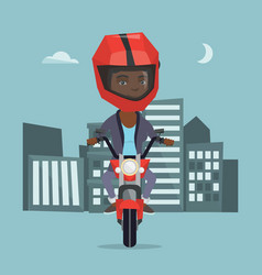 Young african woman riding a motorcycle at night vector