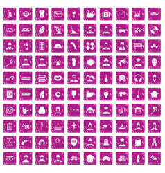 100 different professions icons set grunge pink vector