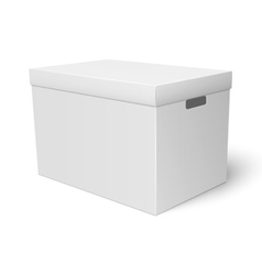 White cardboard storage box template vector