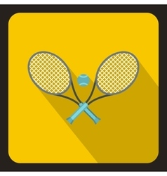 Tennis racket and ball icon flat style vector