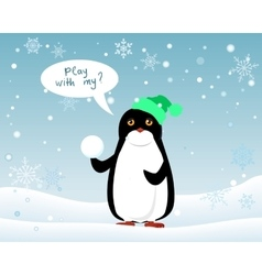 Penguin animal in hat and snowball play with me vector