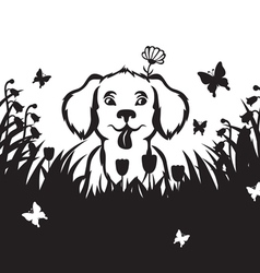 Meadow puppy vector