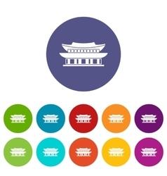 Gyeongbokgung palace seoul set icons vector