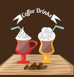 coffee drinks glass cup foam beans over table vector image